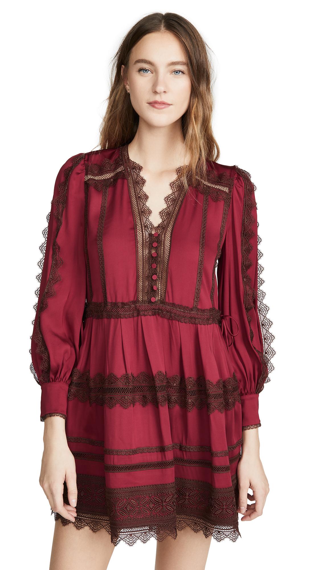 Photo of Self Portrait Lace Trim Mini Dress - shop Self Portrait Clothing, Dresses online