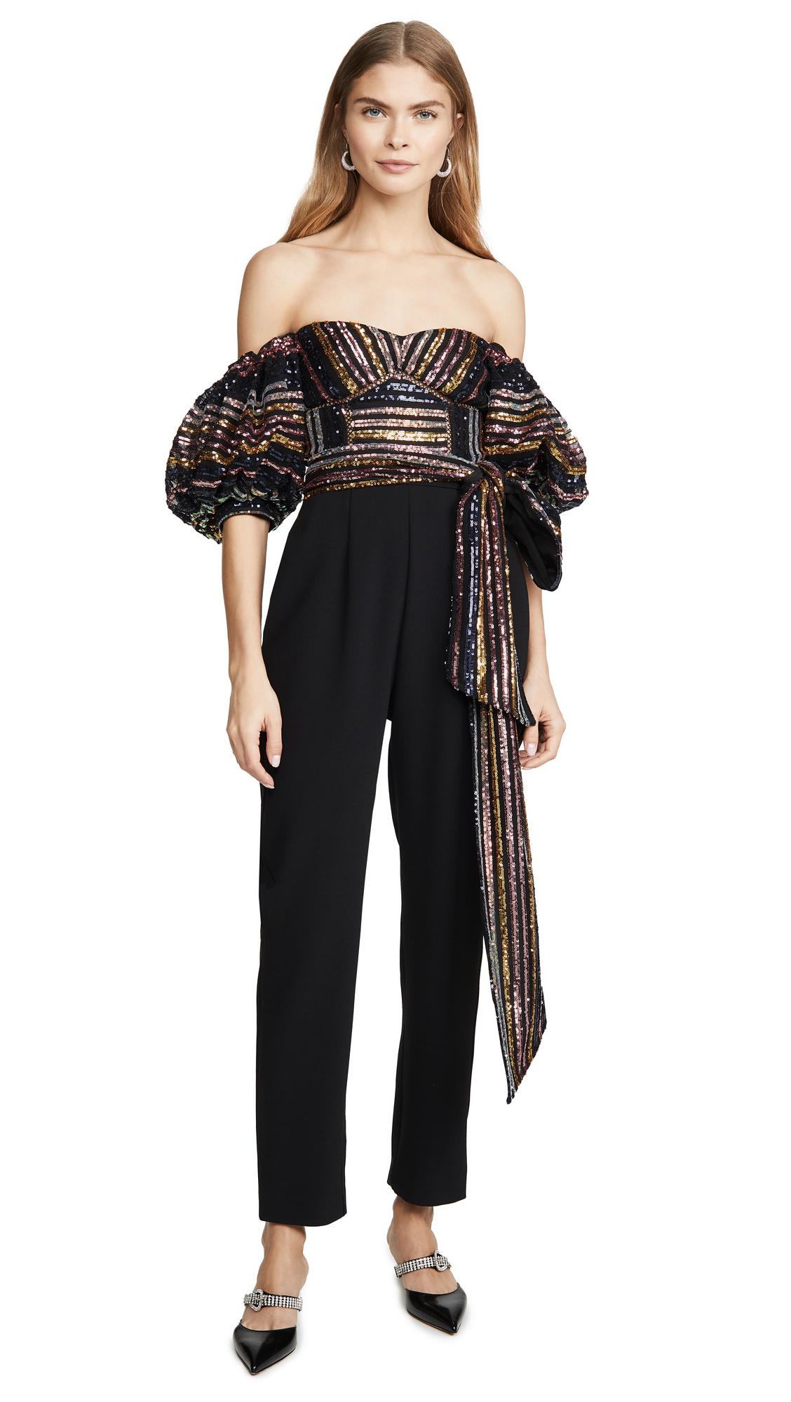 Buy Self Portrait online - photo of Self Portrait Stripe Sequin Jumpsuit
