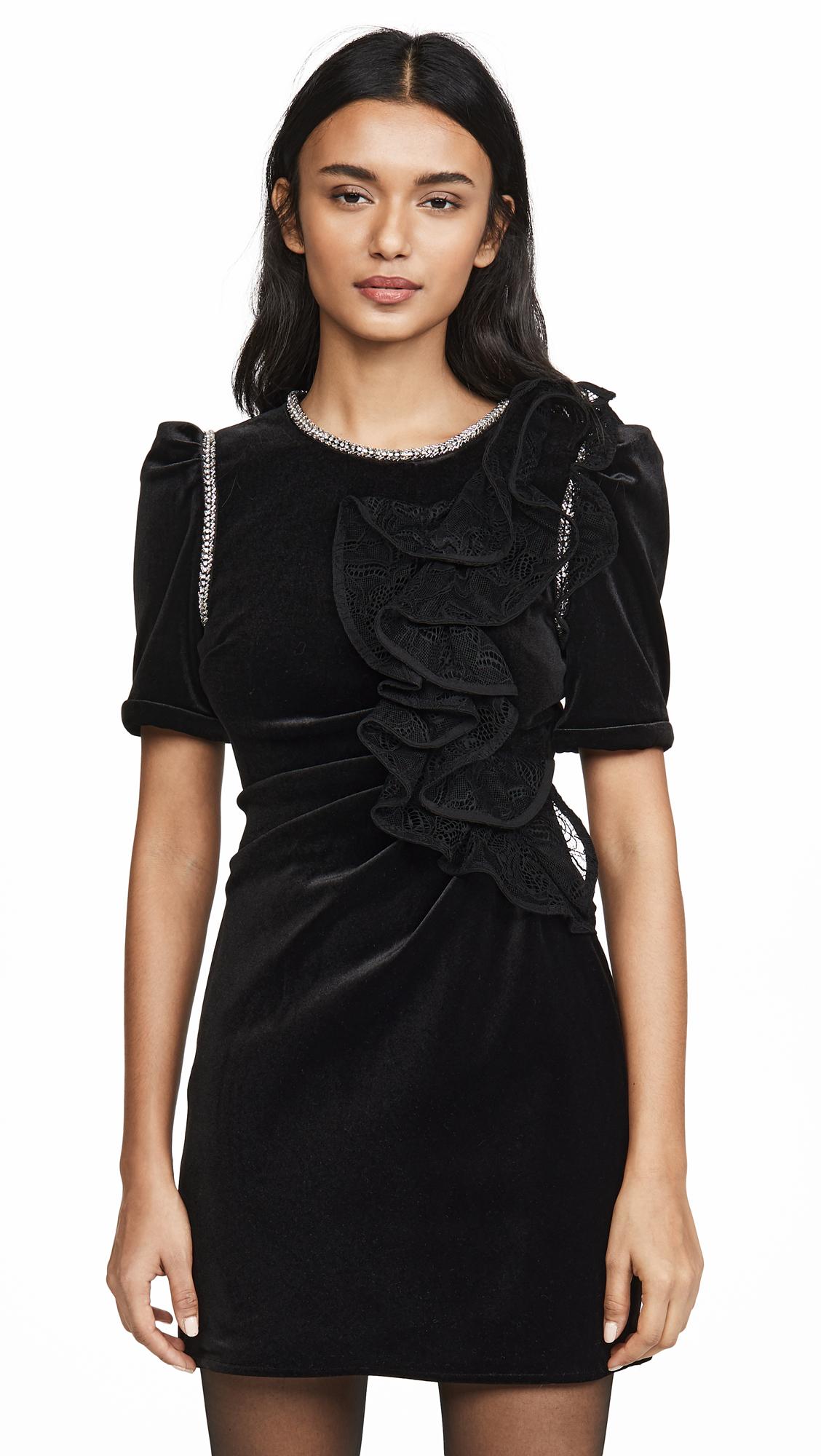 Self Portrait Velvet Ruffle Mini Dress - Black