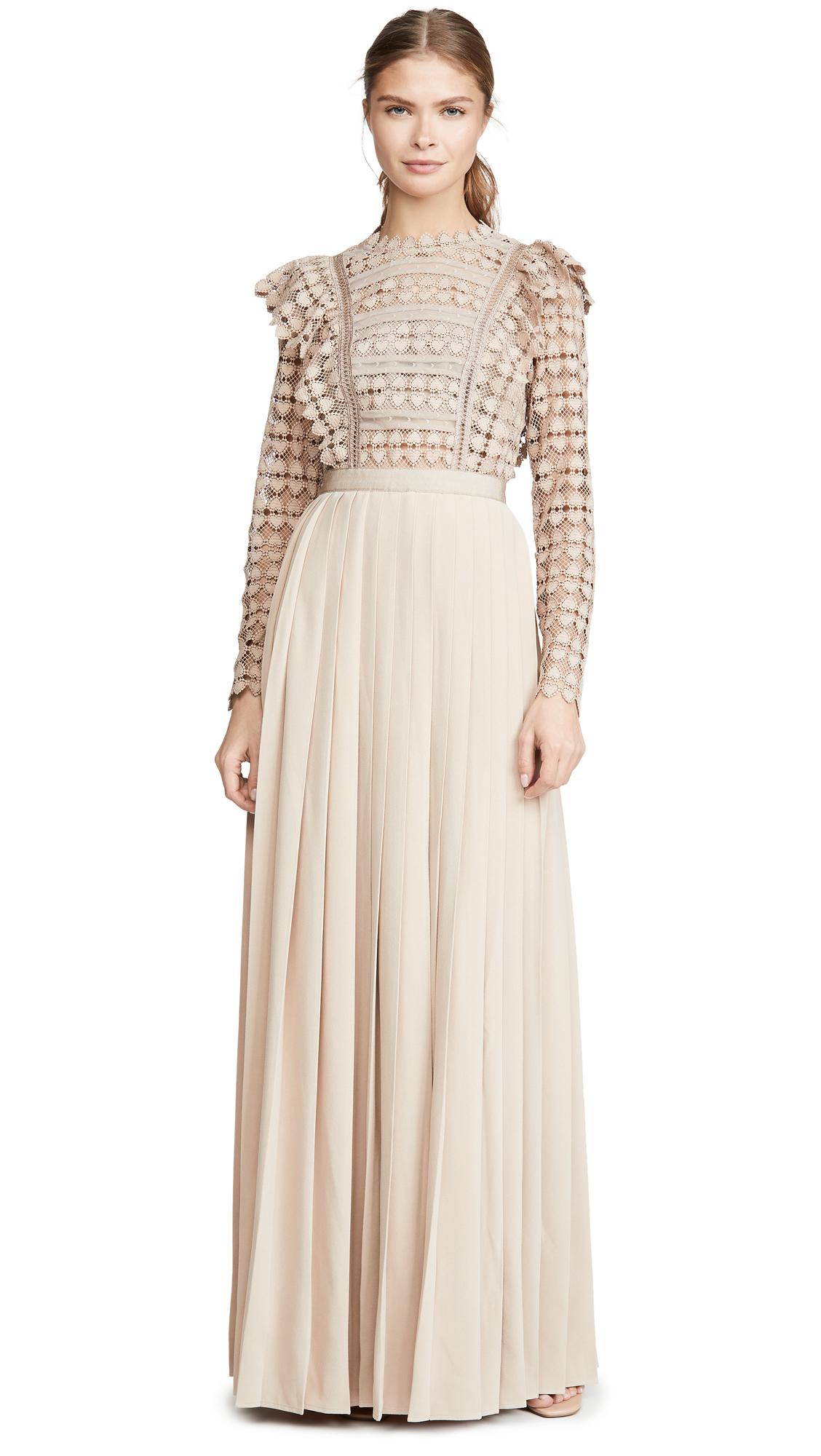 Buy Self Portrait online - photo of Self Portrait Heart Lace Maxi Dress