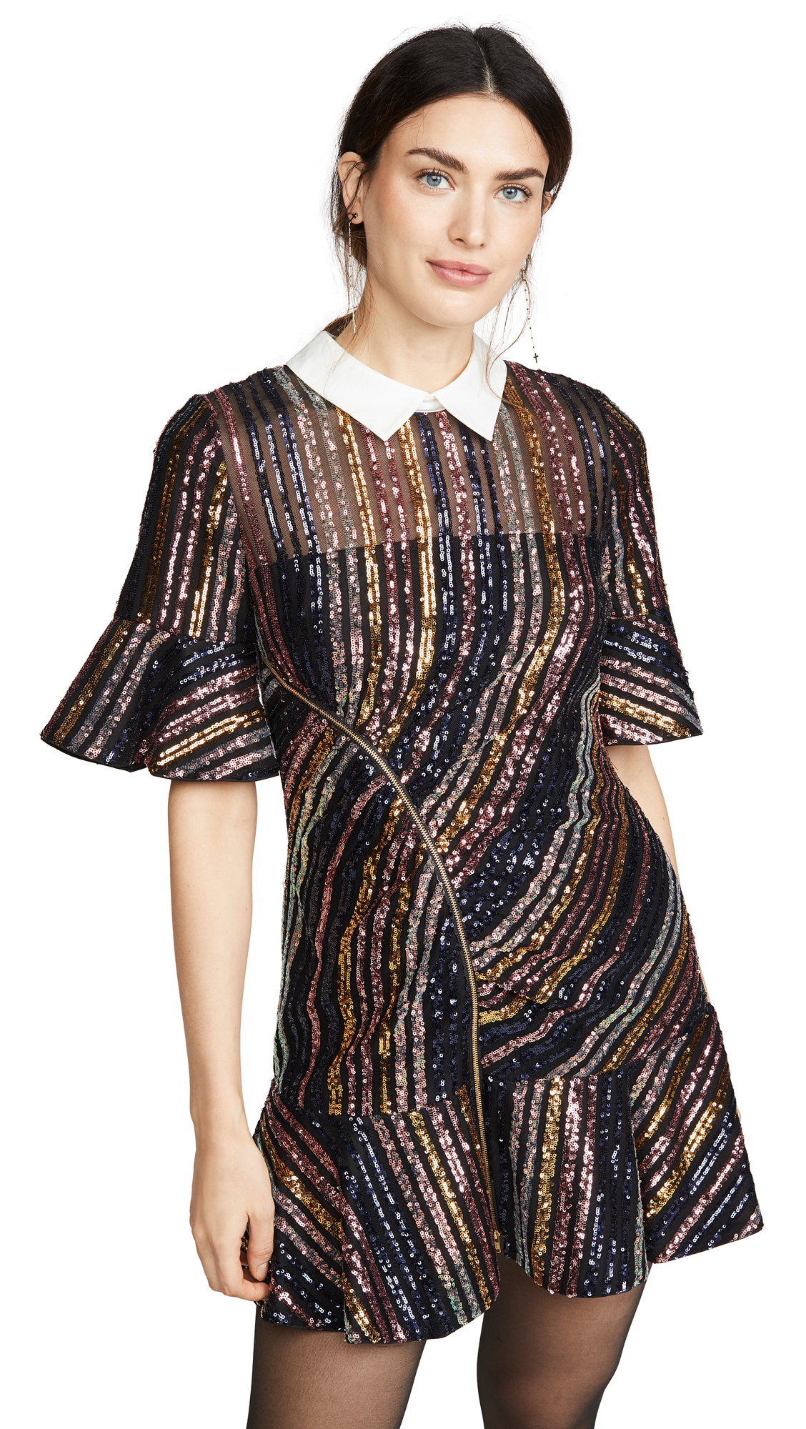 Self Portrait Sequin Stripe Collared Mini Dress - 60% Off Sale
