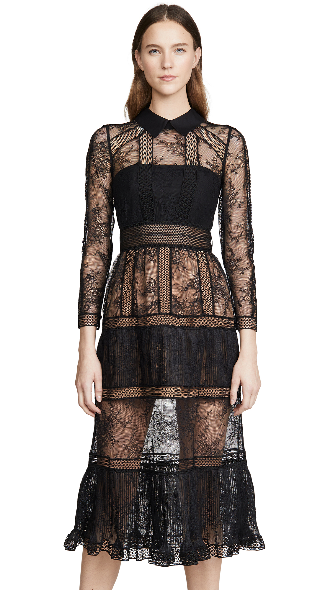 Buy Self Portrait online - photo of Self Portrait Fine Lace Trim Midi Dress