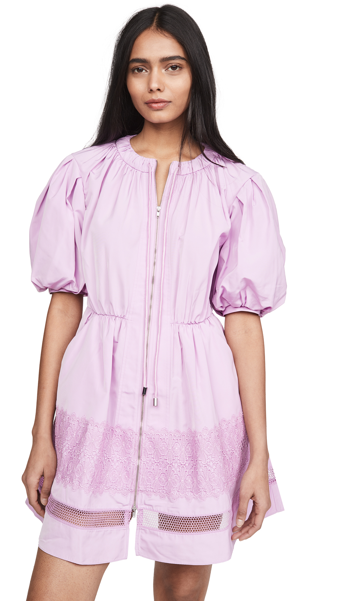 Buy Self Portrait Puff Sleeve Lace Trim Mini Dress online beautiful Self Portrait Clothing, Dresses