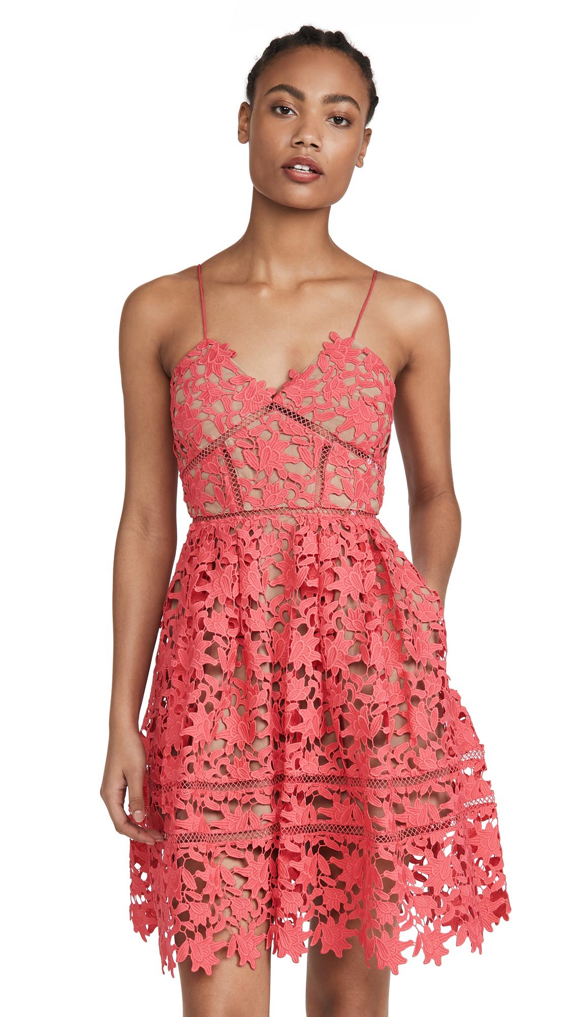 Self Portrait Mini Azaelea Dress - Hot Pink