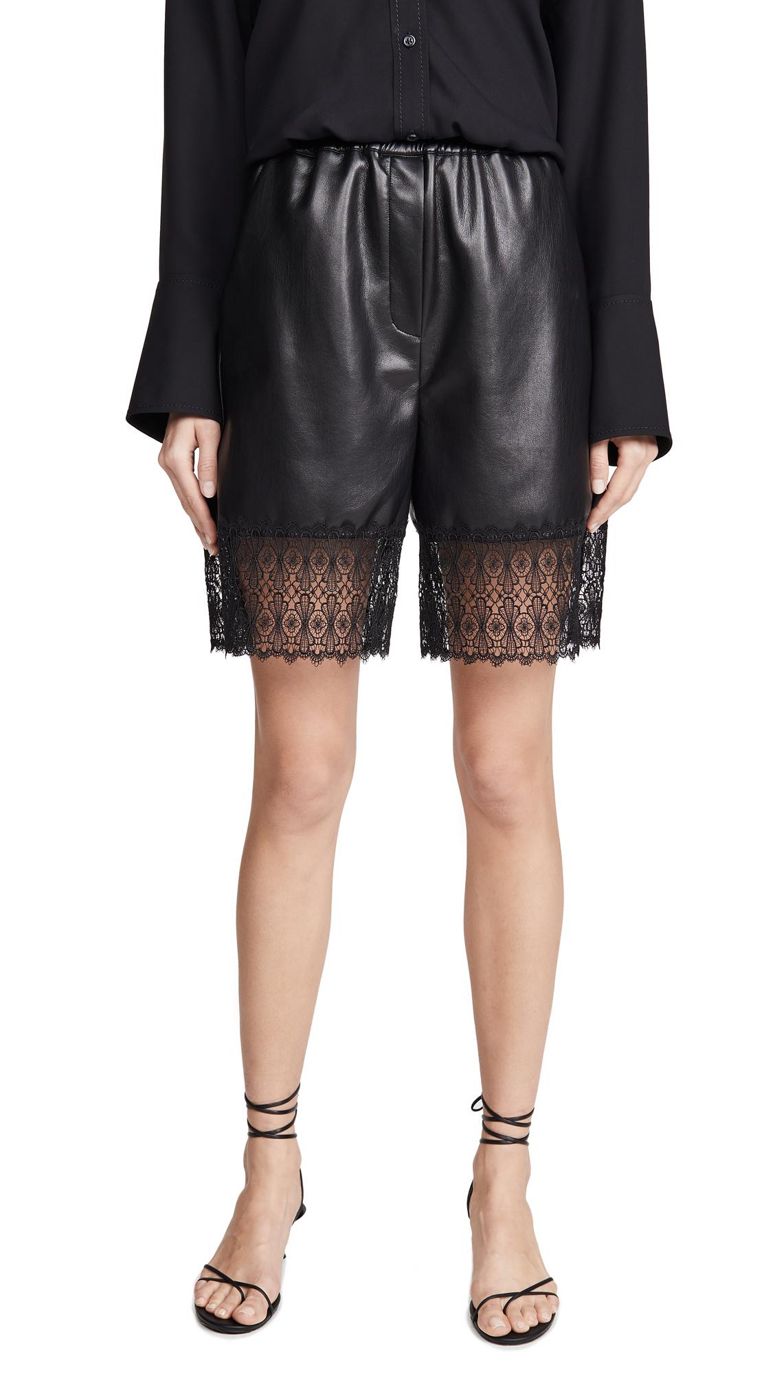 Buy Self Portrait online - photo of Self Portrait Faux Leather Lace Trim Bermuda Shorts