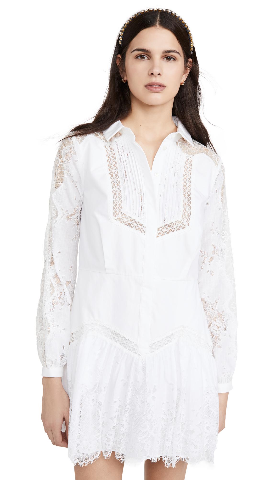 Self Portrait Lace Panel Shirtdress - White
