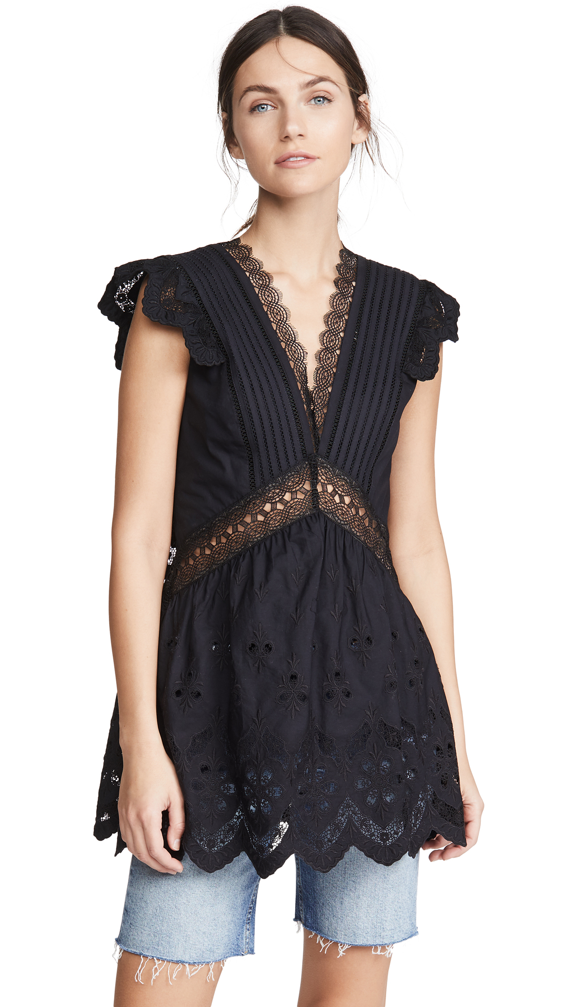 Self Portrait Broderie Sleeveless Top - 30% Off Sale