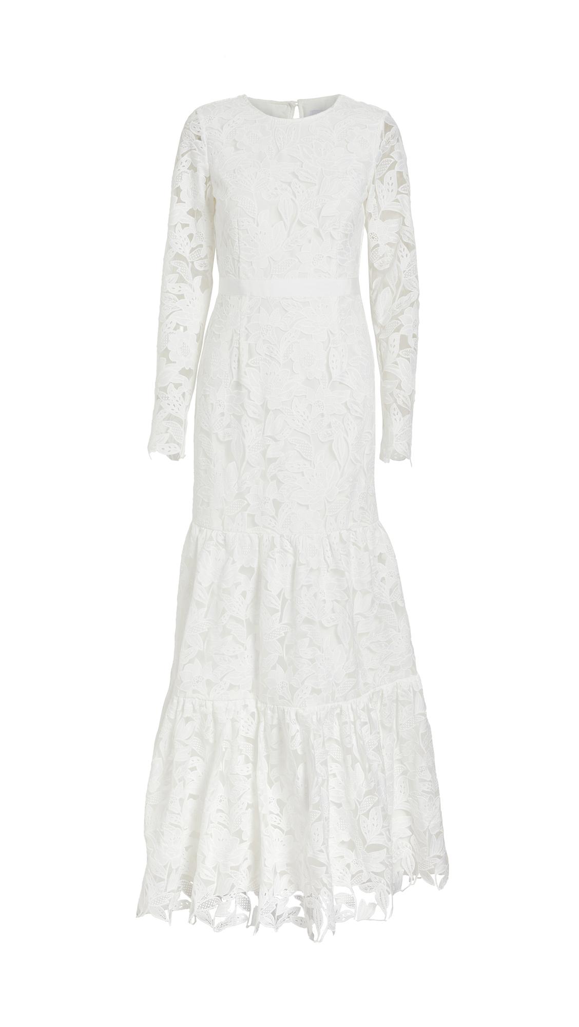 Self Portrait Leaf Guipure Maxi Dress - White
