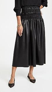 Self Portrait Faux Leather Shirred Midi Skirt