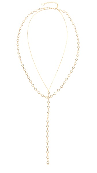 serefina Layered Y Necklace - Gold/Clear