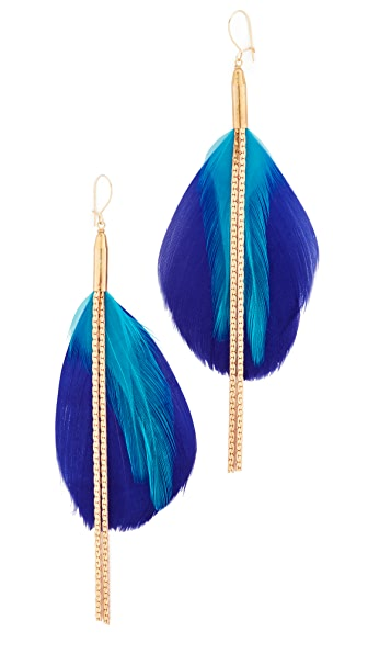 serefina Double Drop Feather Earrings