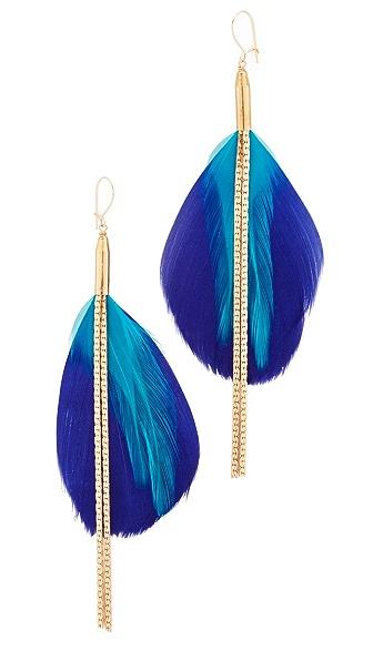 serefina Double Drop Feather Earrings - Gold/Blue