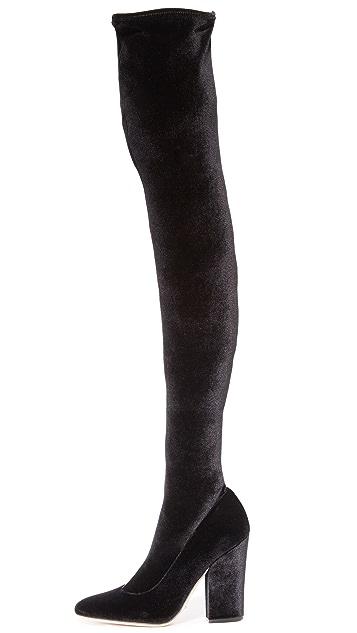 Sergio Rossi Virginia Velvet Over the Knee Boots