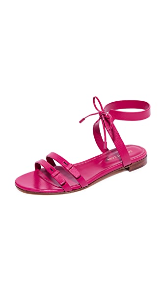 Sergio Rossi Zoe Flat Sandals - Electric Pink