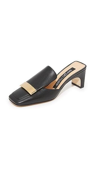 Sergio Rossi Block Heel Mules - Black