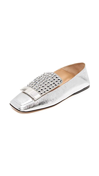 Sergio Rossi Flat Slides In Silver
