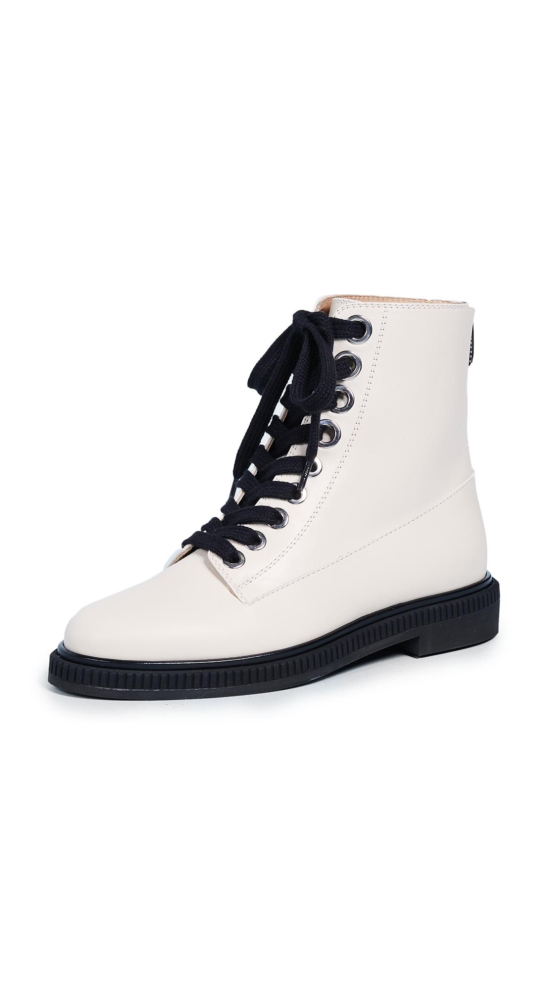Sergio Rossi Camilla Combat Boots - Chalk