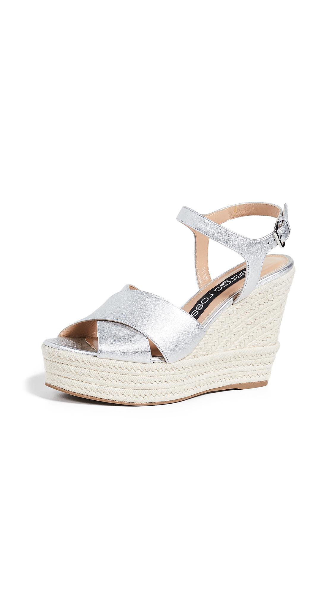 Sergio Rossi Gruppo Wedge Sandals - Argento