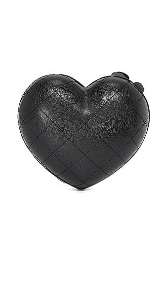 Serpui Marie Quilted Heart Clutch - Black
