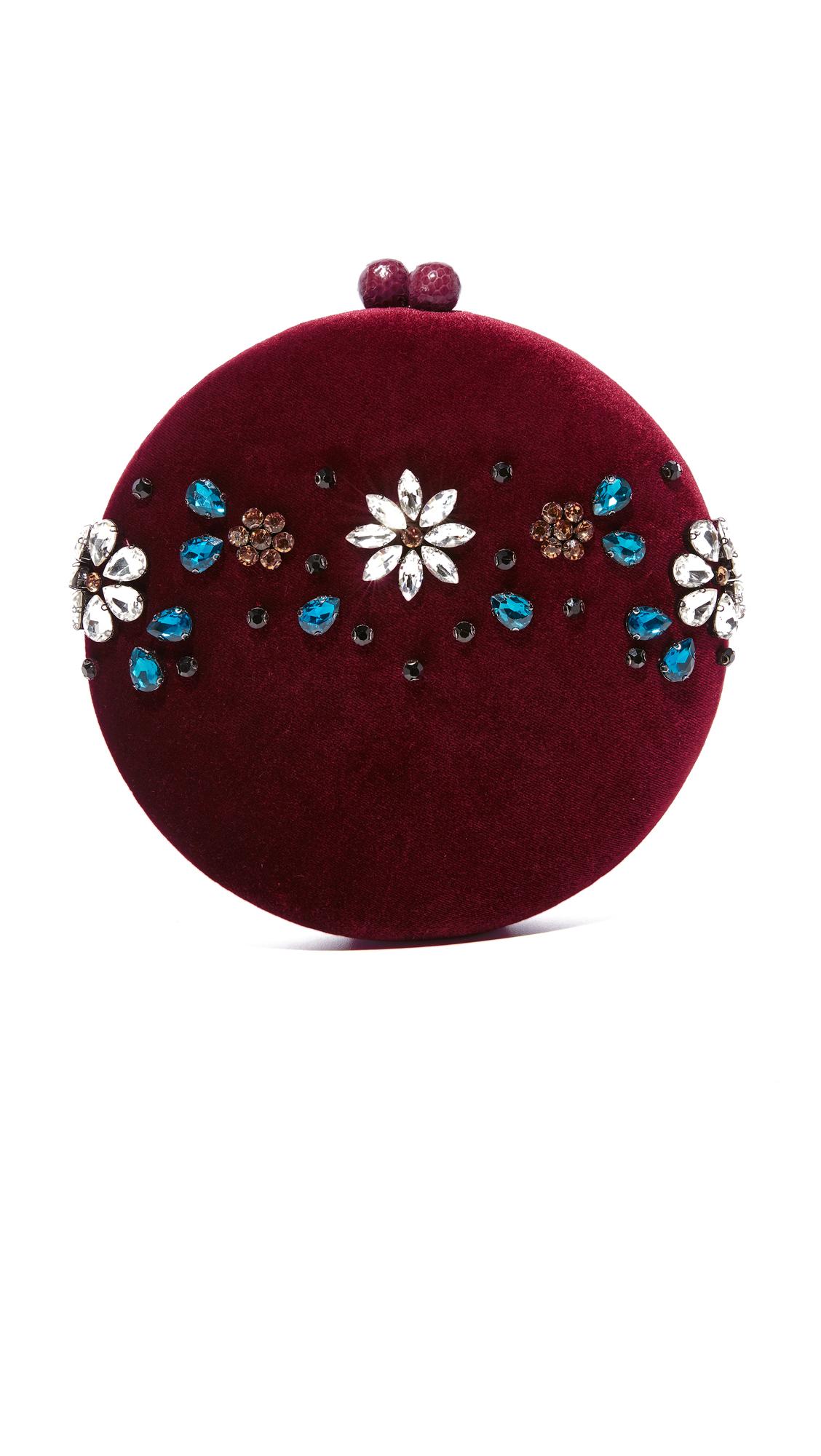Serpui Marie Lizzy Velvet Bag - Burgundy