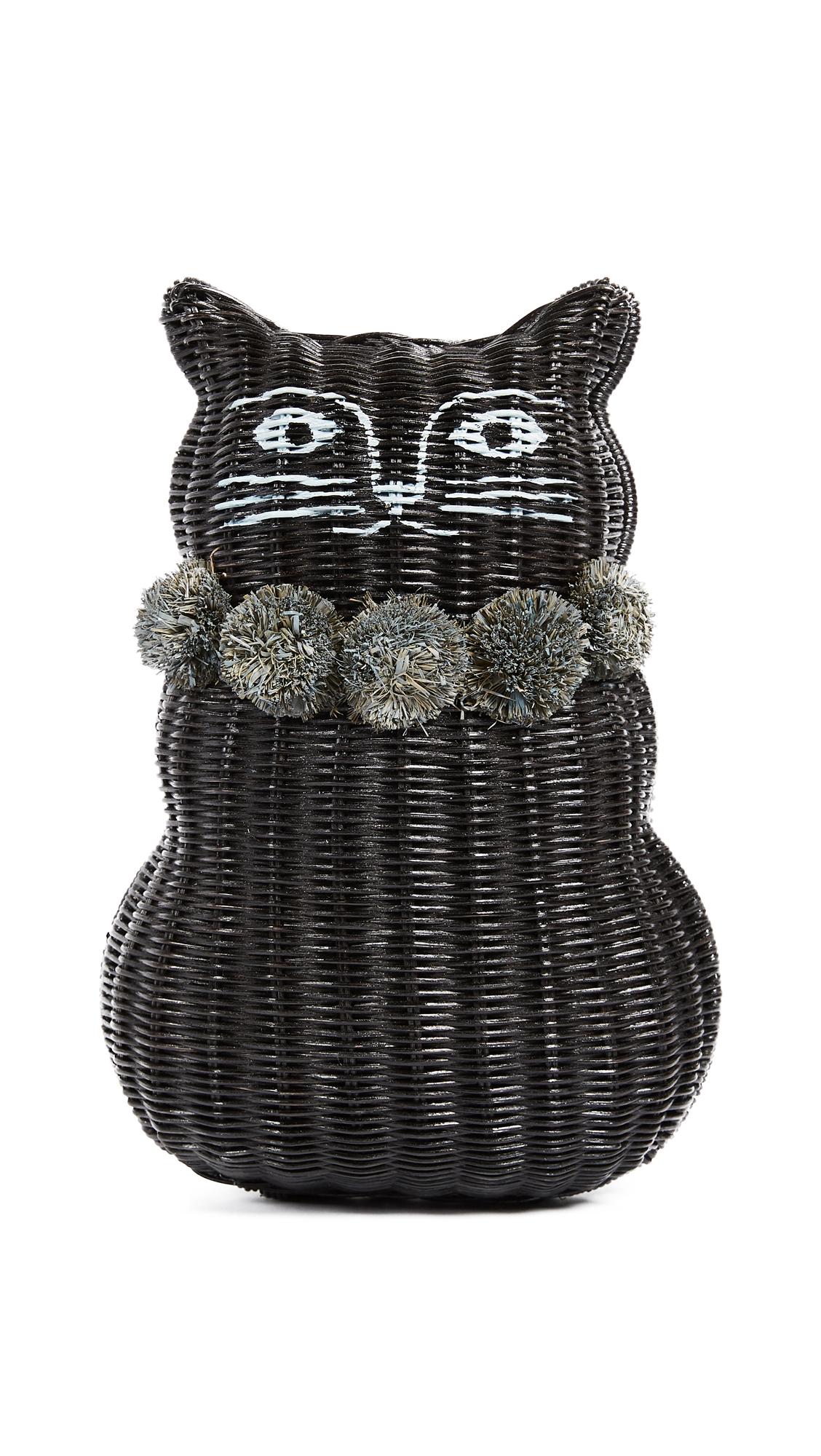 Serpui Marie Cat Wicker Clutch - Black