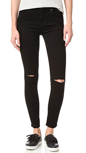 7 For All Mankind b(air) Ankle Skinny Jeans In Black