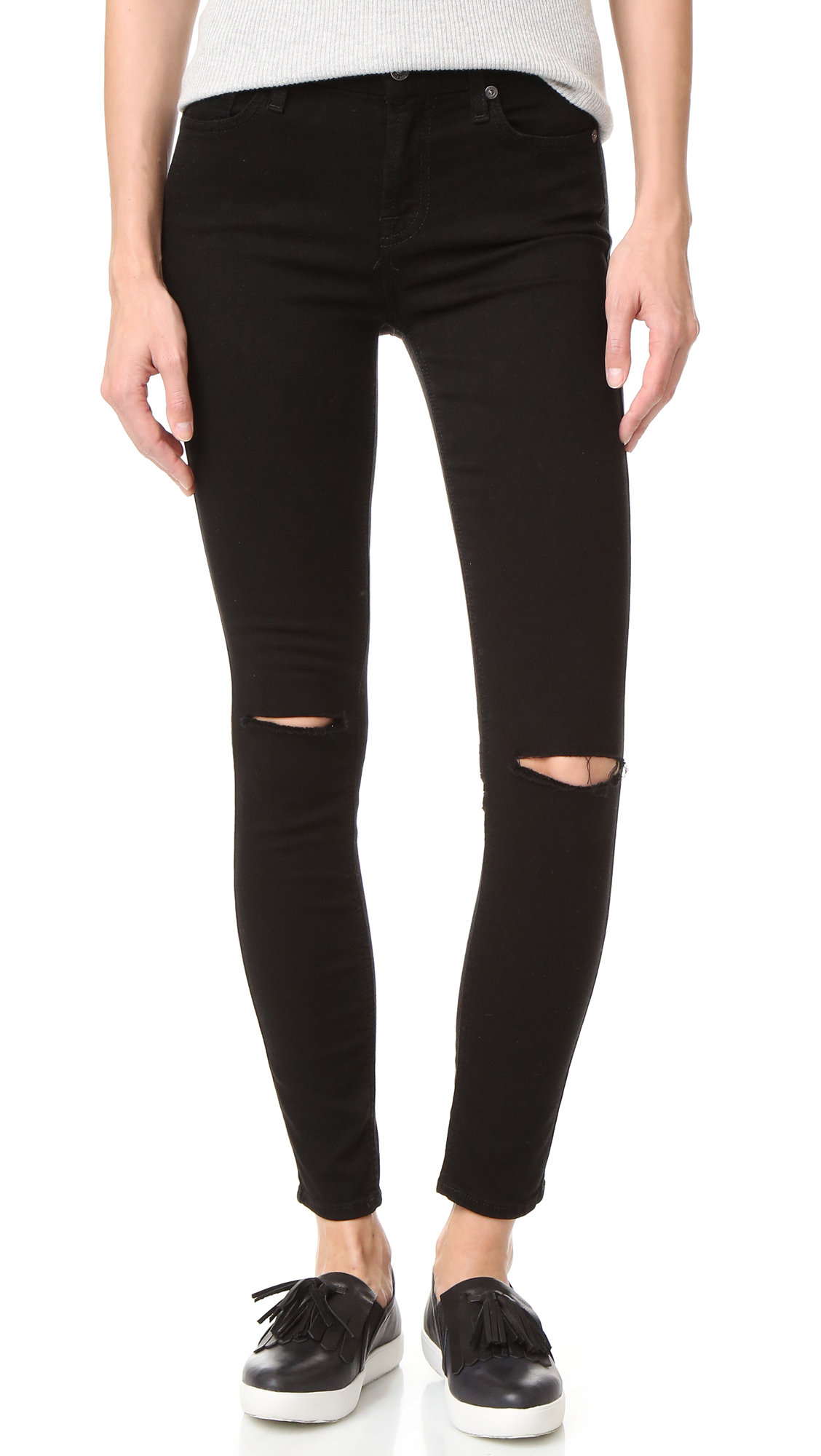 7 For All Mankind ripped black jean