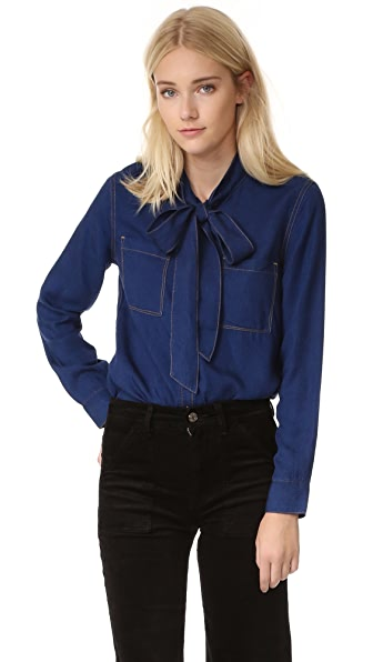 7 For All Mankind Bow Tie Denim Shirt