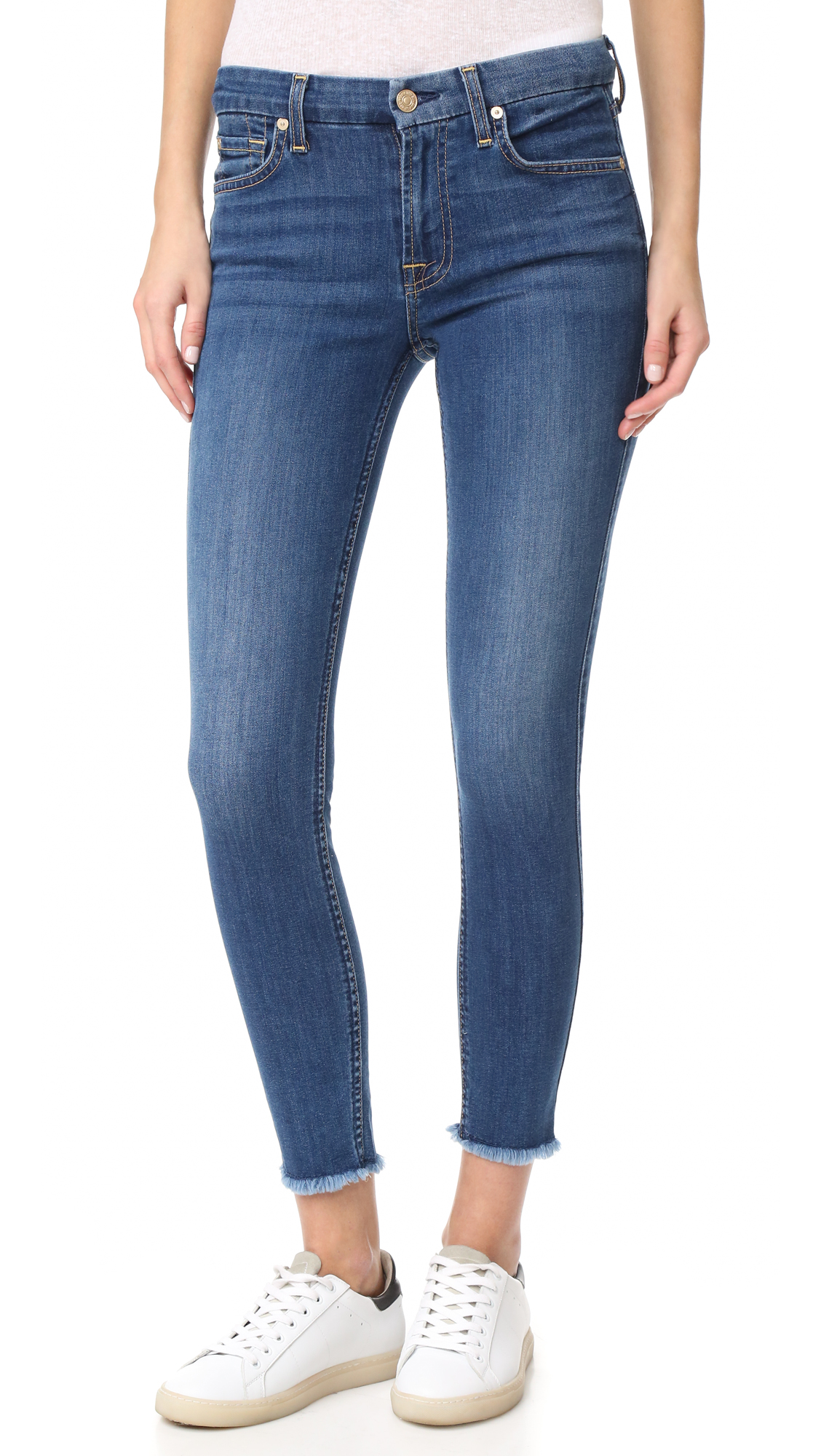 7 For All Mankind b(air) Ankle Skinny Jeans with Raw Hem