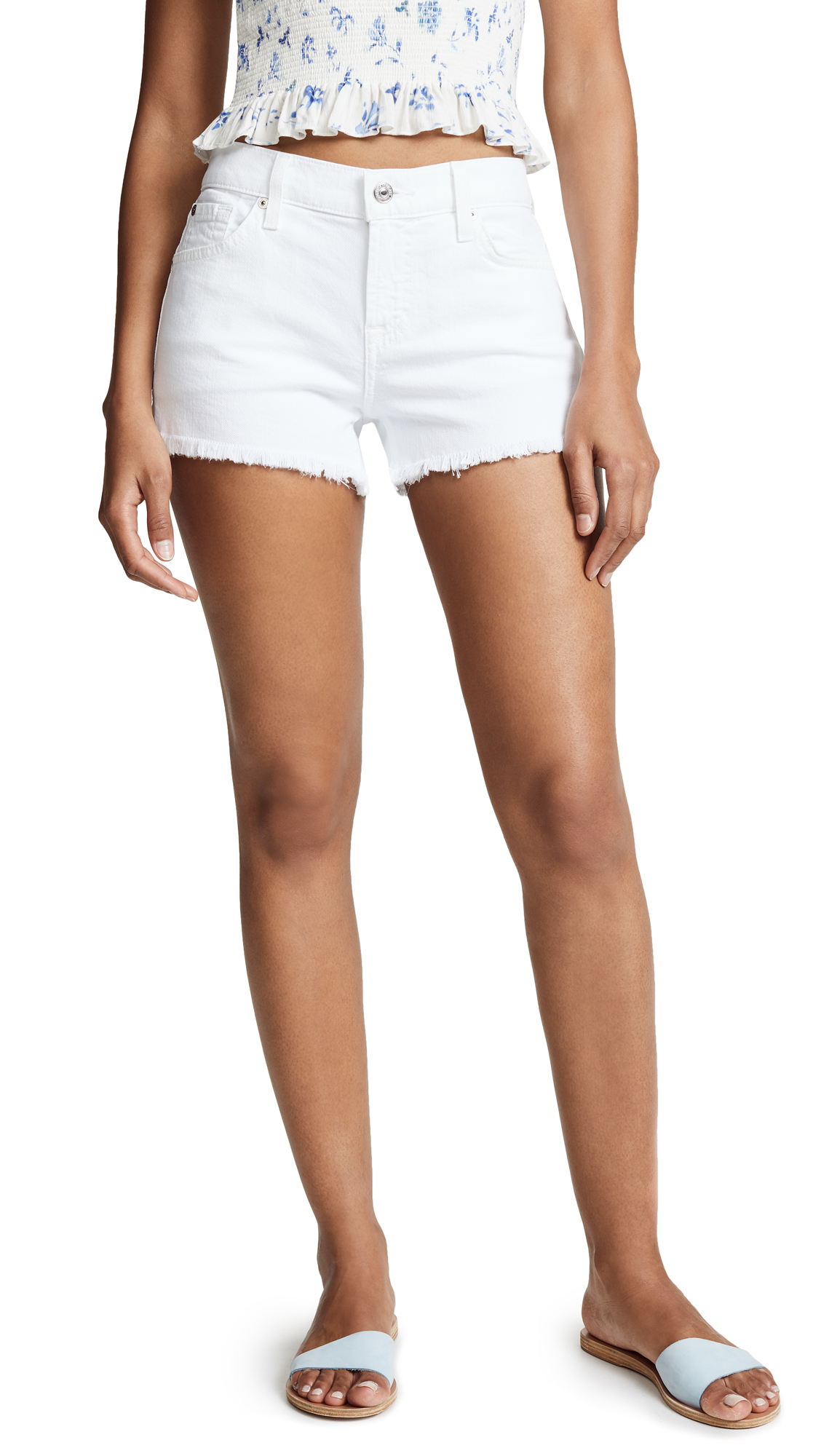 7 For All Mankind Cutoff Shorts In Clean White