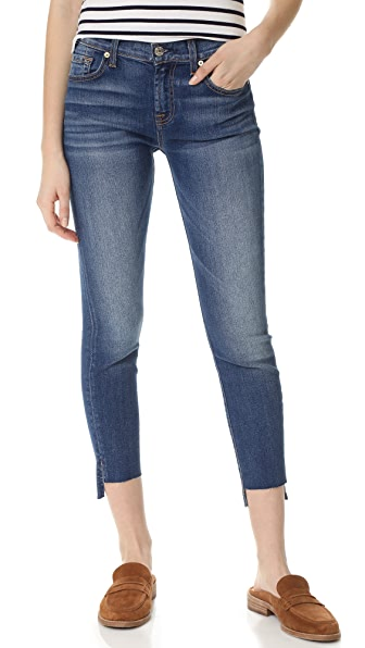 7 For All Mankind Ankle Skinny Jeans with Step Hem - Distressed Authentic Light 3