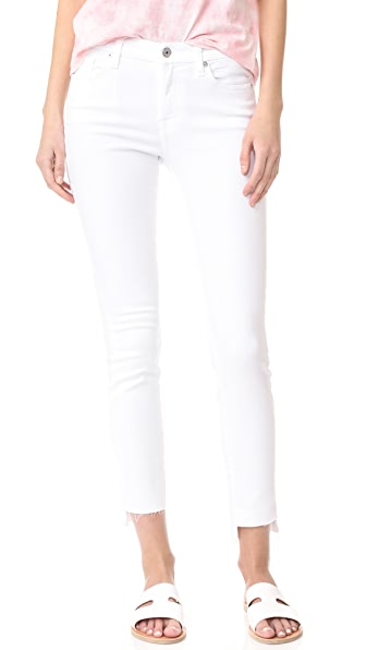 7 For All Mankind Step Hem Skinny Jeans - Clean White