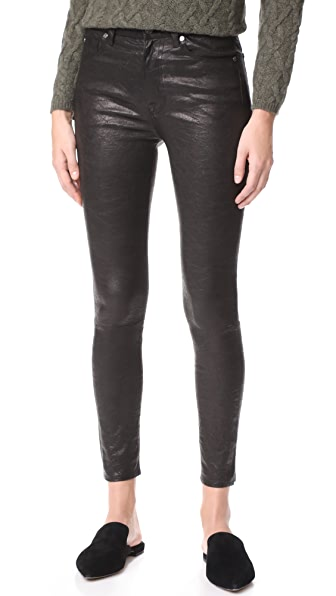 7 For All Mankind The Ankle Skinny Leather Pants - Black