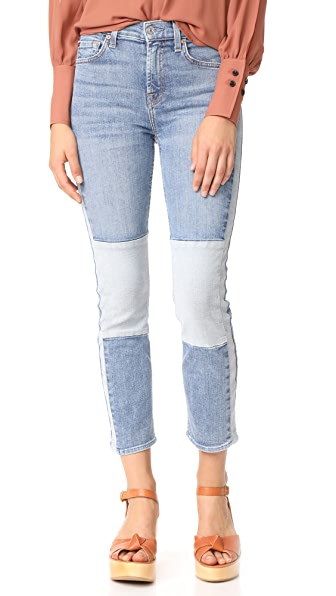7 For All Mankind Edie Jeans with Reverse Piecing - Gold Coast Waves