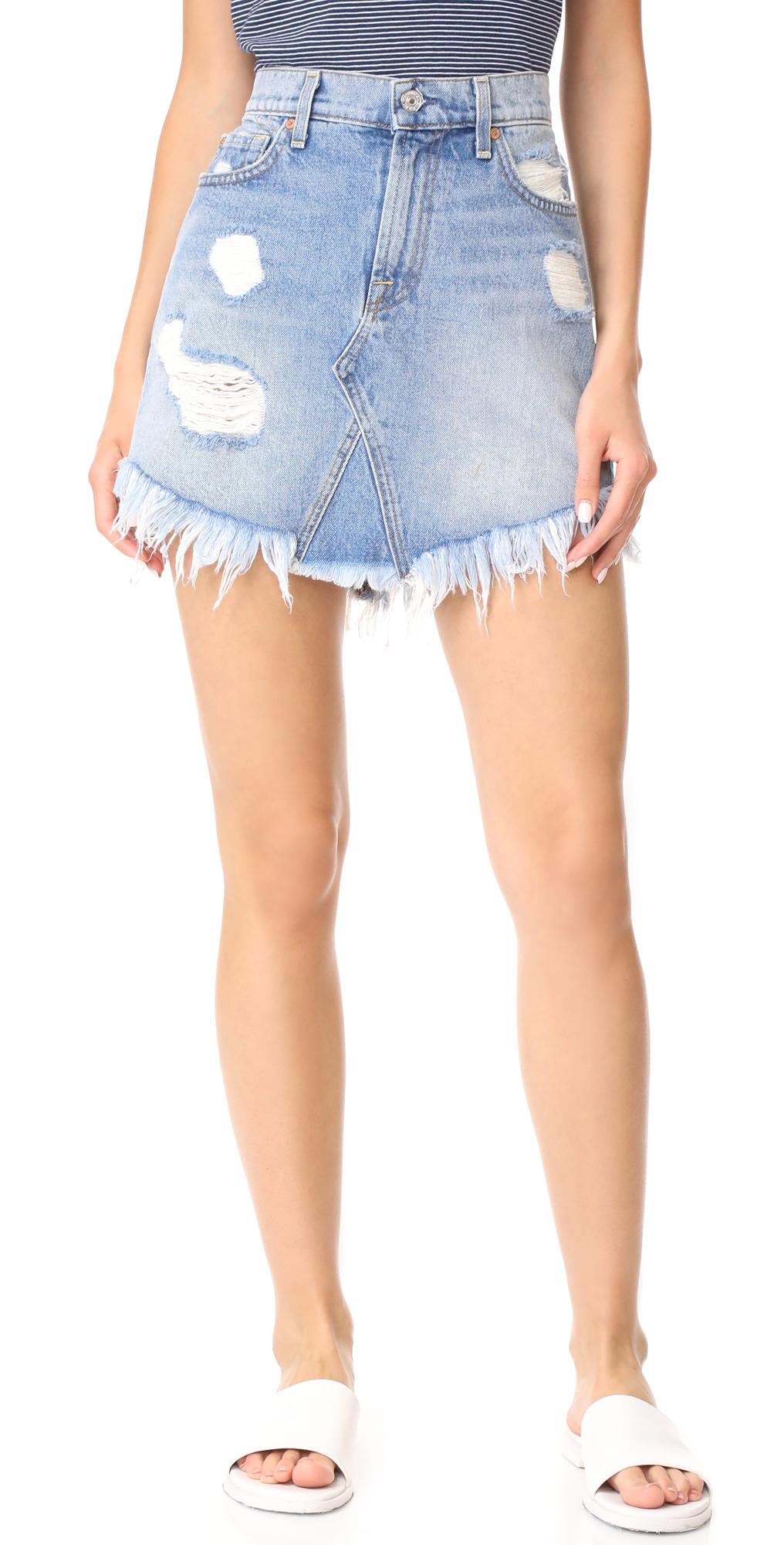 Raw Hem Miniskirt 7 For All Mankind