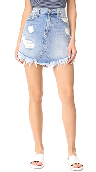 7 For All Mankind Raw Hem Miniskirt