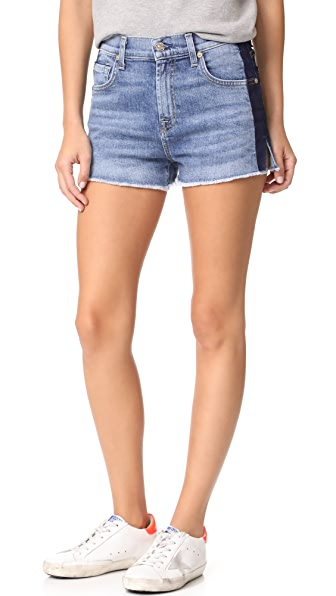 7 For All Mankind High Waist Cutoff Shorts - Gold Coast Waves
