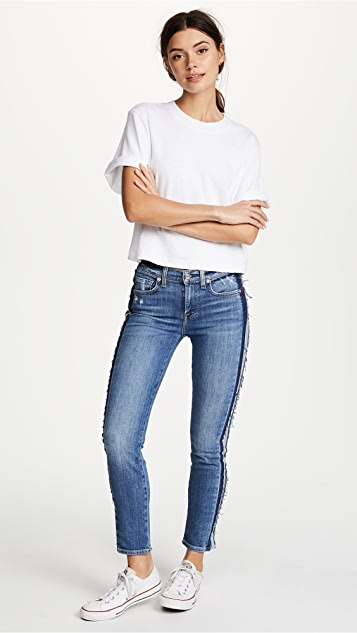 7 For All Mankind Roxanne Ankle Jeans with Reverse Fray Tux