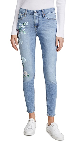 7 For All Mankind The Floral Painted Ankle Skinny Jeans