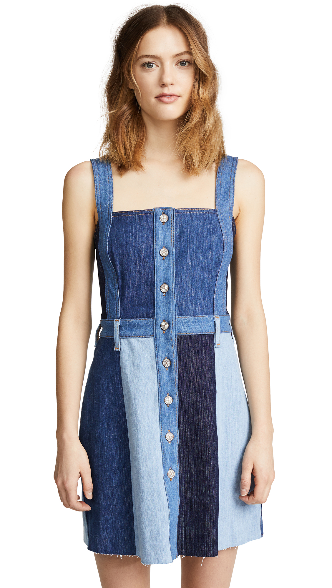 7 For All Mankind Patchwork A-Line Dress In Patchwork Found