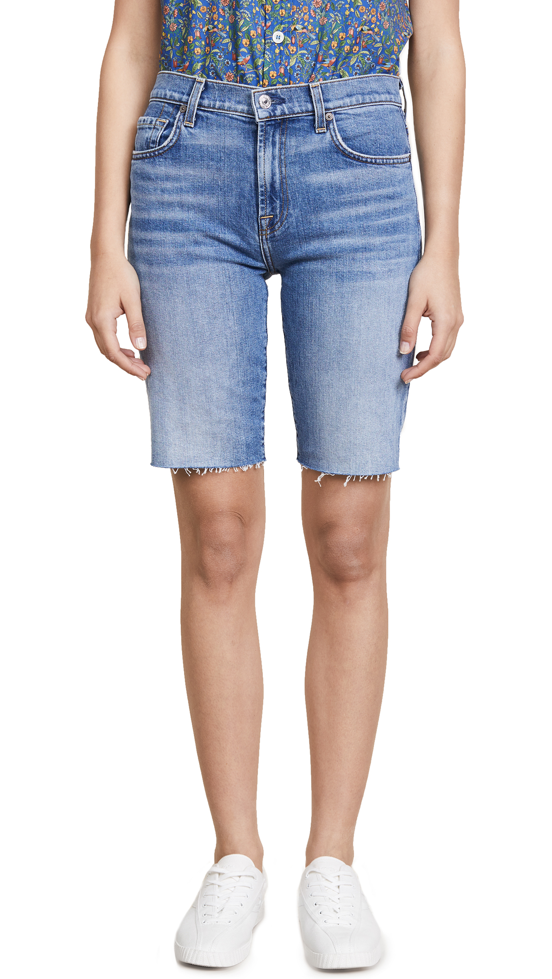 7 For All Mankind High Waist Bermuda Shorts
