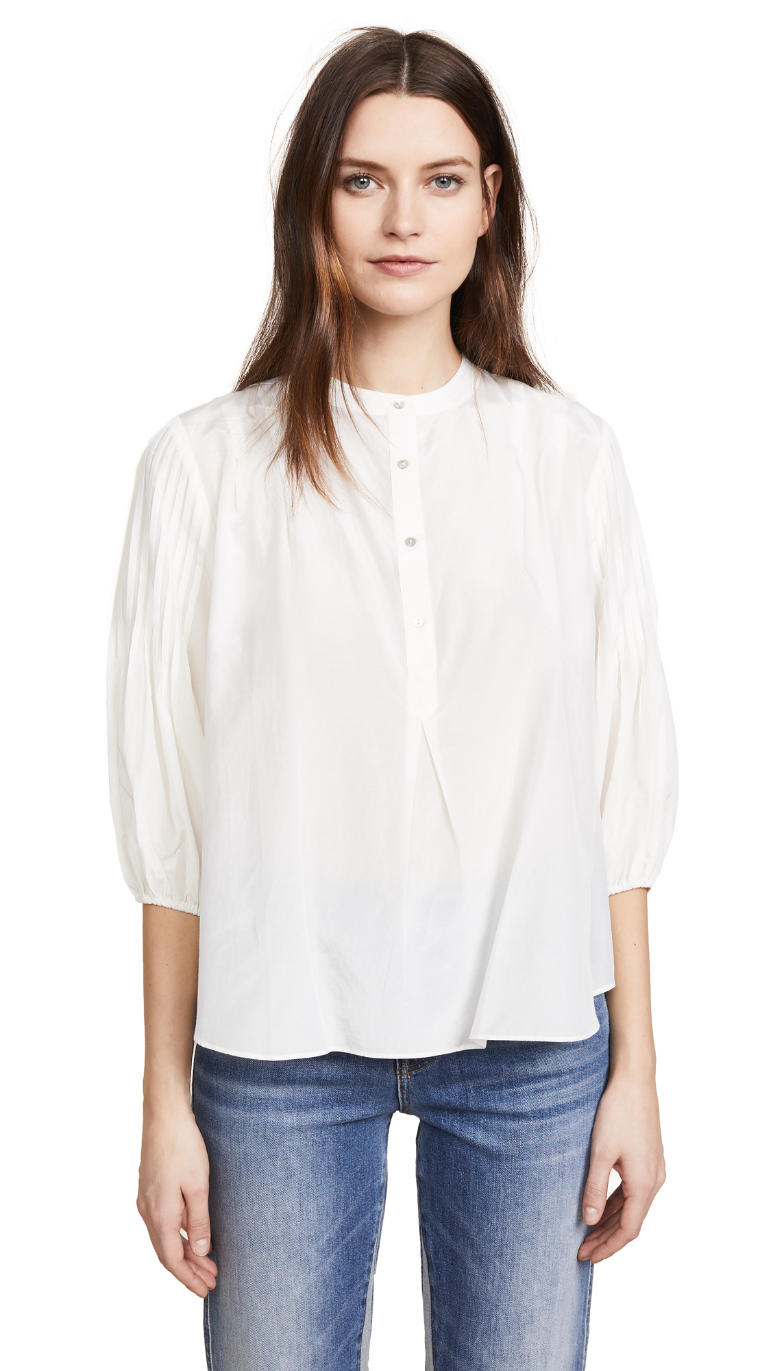 7 For All Mankind Pleated Top In Ivory