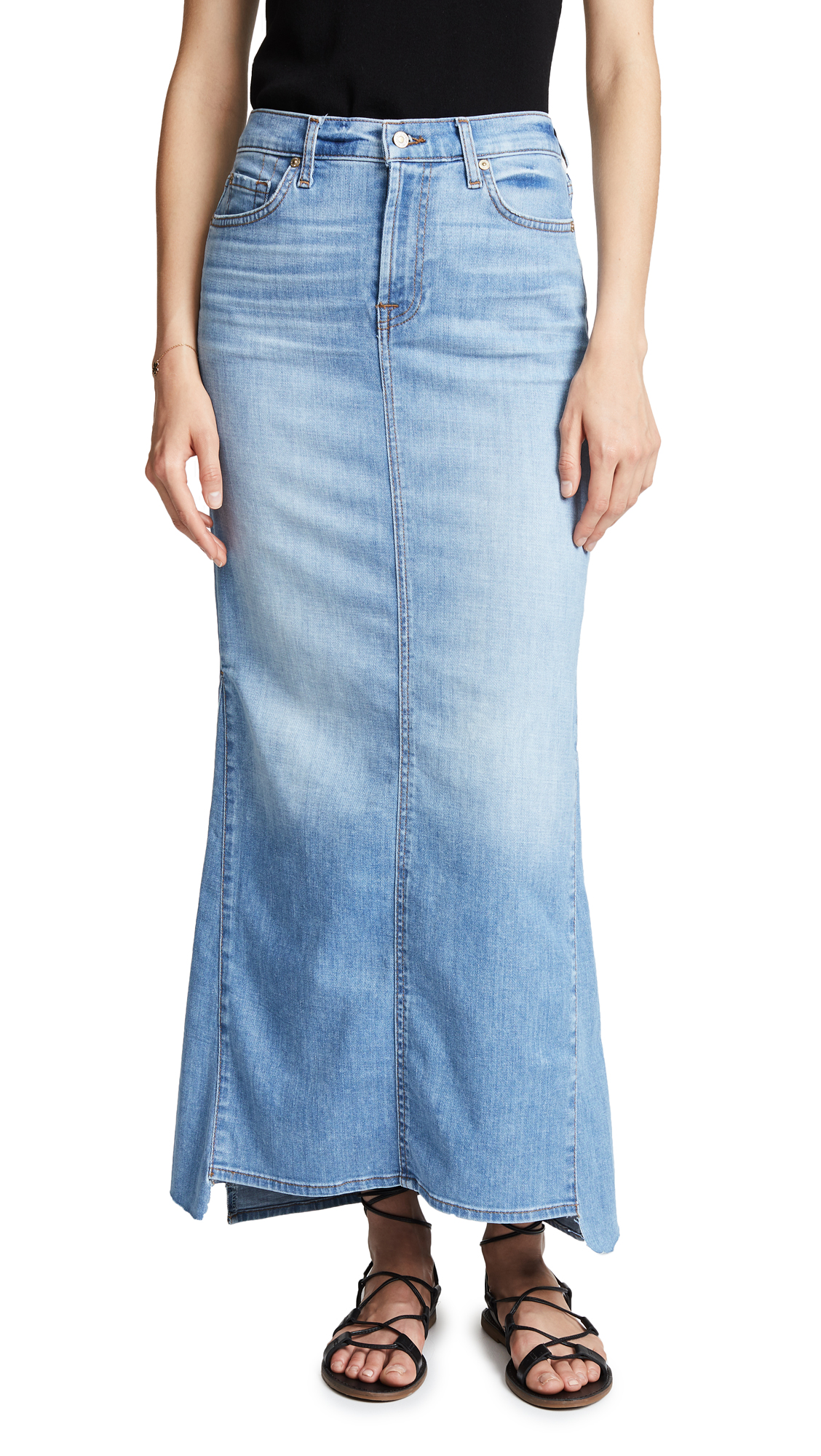 7 For All Mankind Long Maxi Skirt In Bright Blue Jay