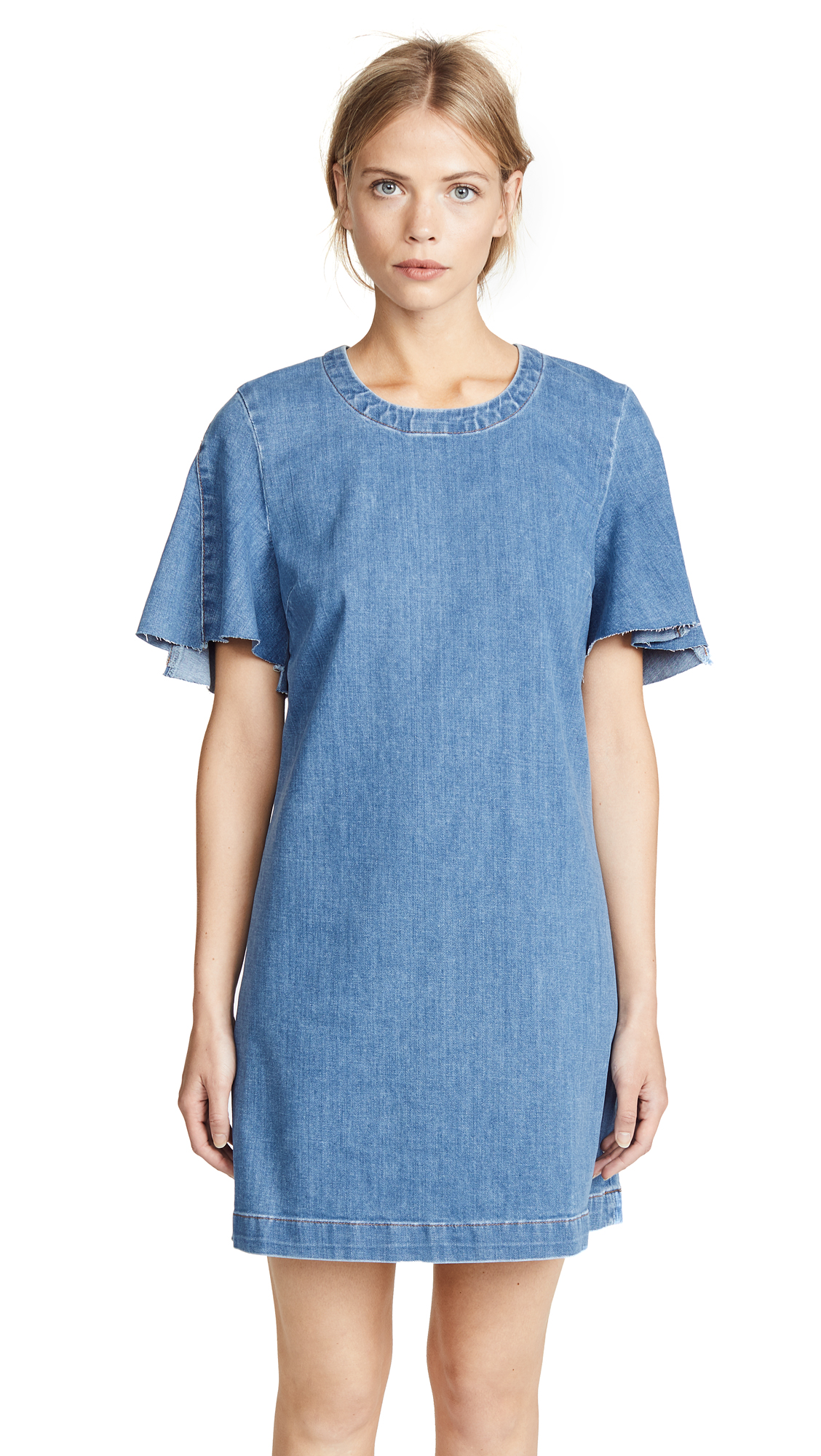 7 For All Mankind Popover Denim Dress In Bright Blue Jay
