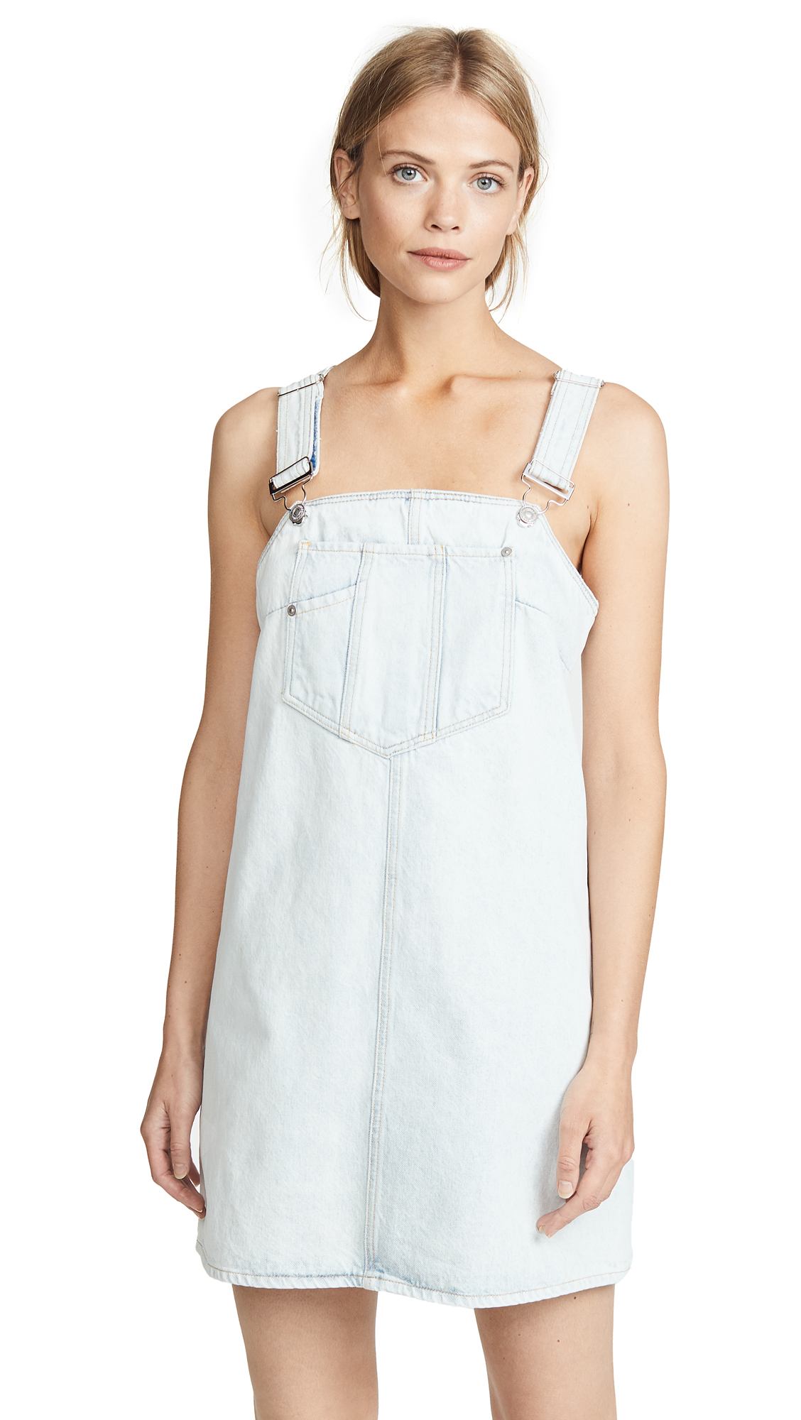 7 For All Mankind Dungaree Dress In Cloud Bleach Out