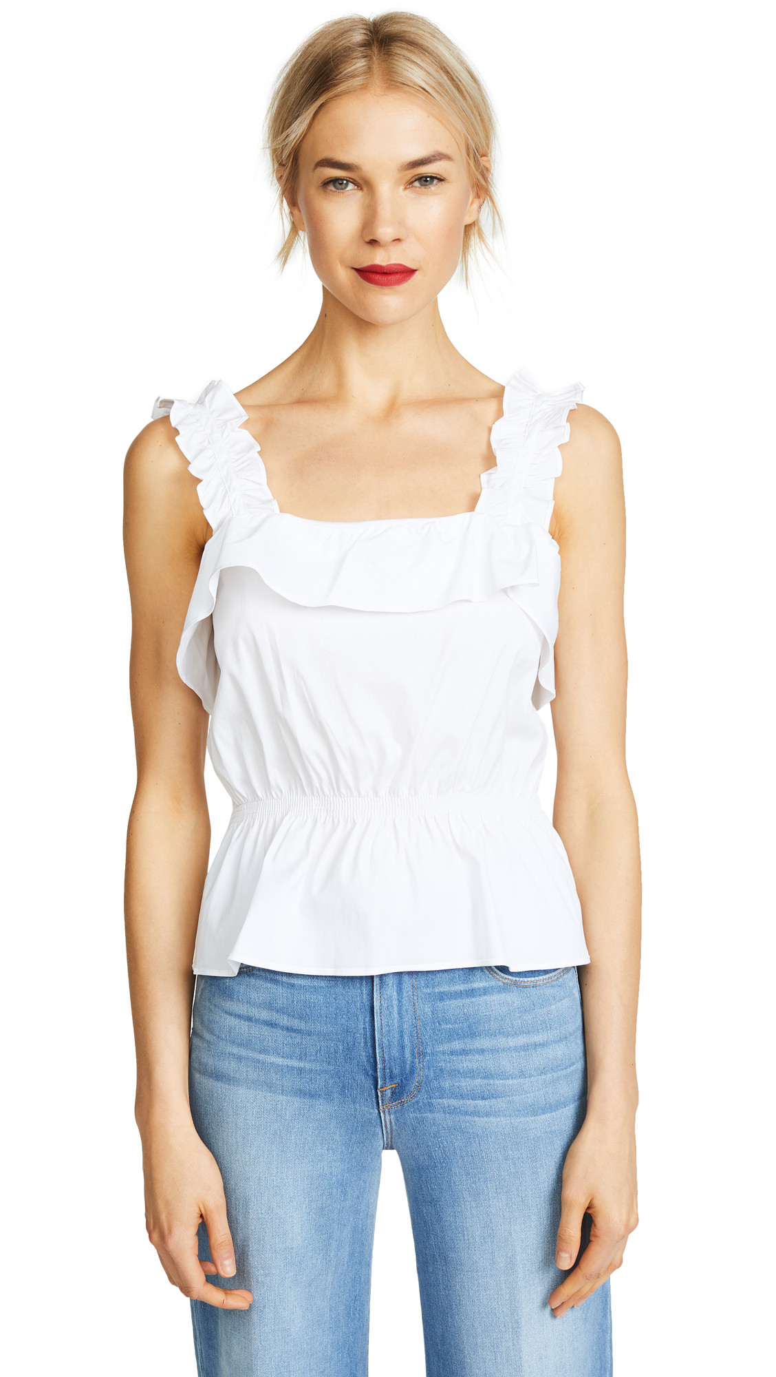 7 For All Mankind Ruffle Top In White