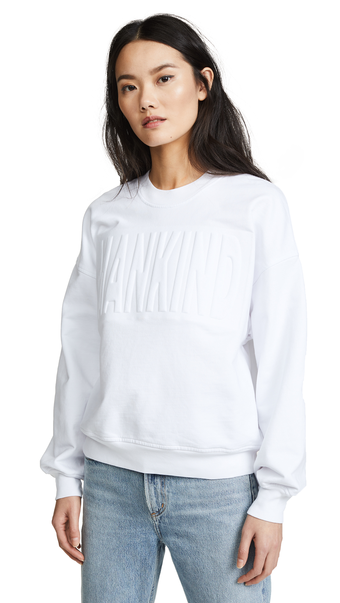 7 For All Mankind MANKIND Embossed Sweatshirt In White/White