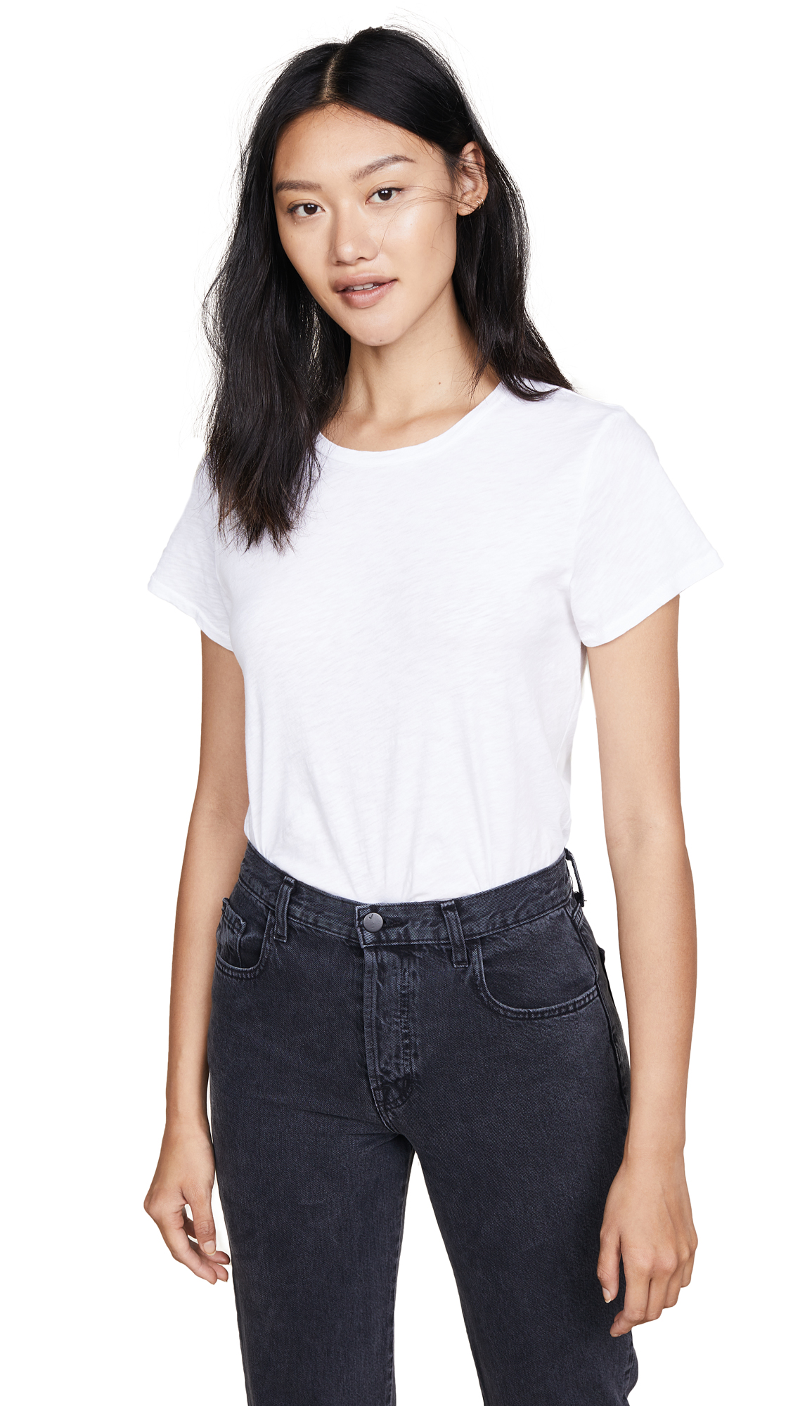 7 For All Mankind Slub Basic Tee In White