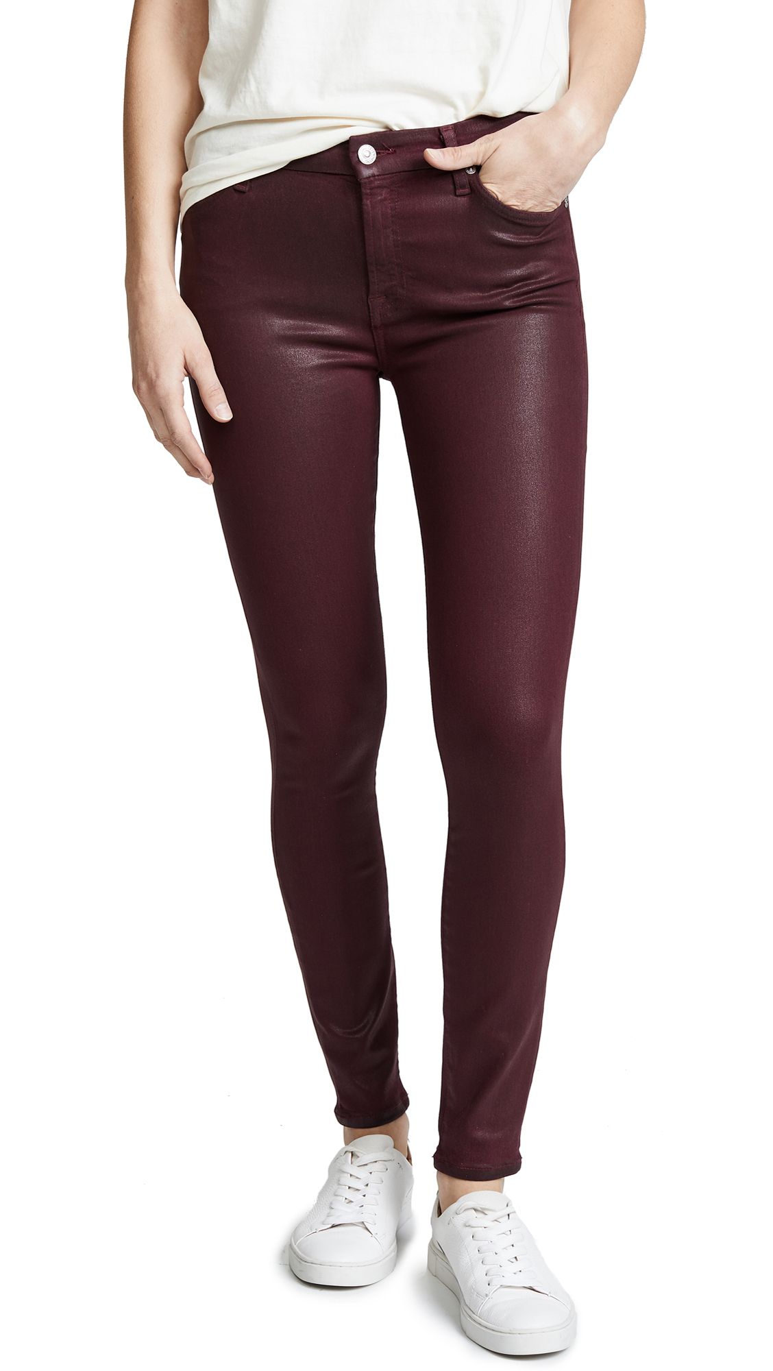 7 For All Mankind The Coated Ankle Skinny Jeans In Bordeaux