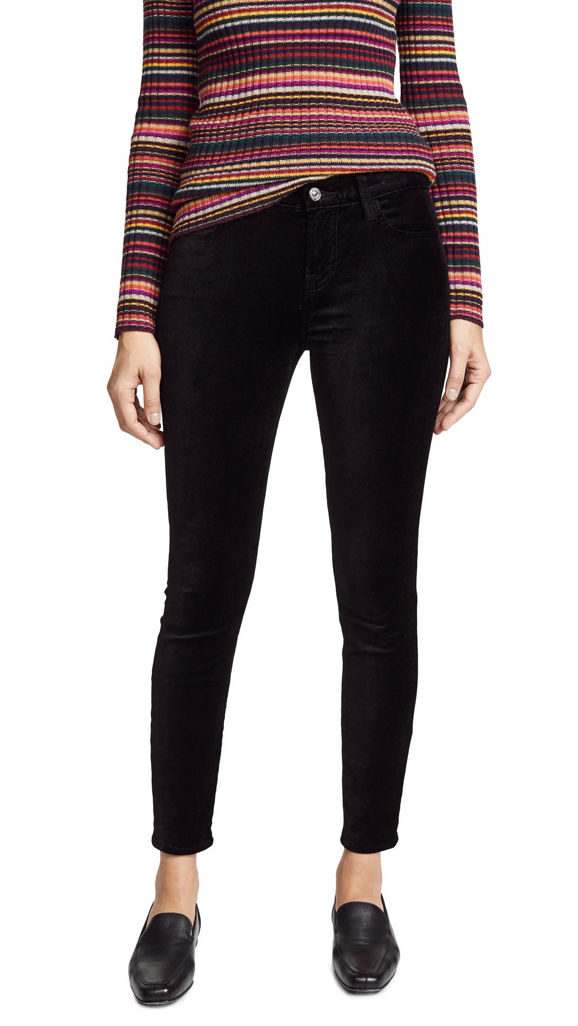 Ankle Skinny Velvet Jeans In Black
